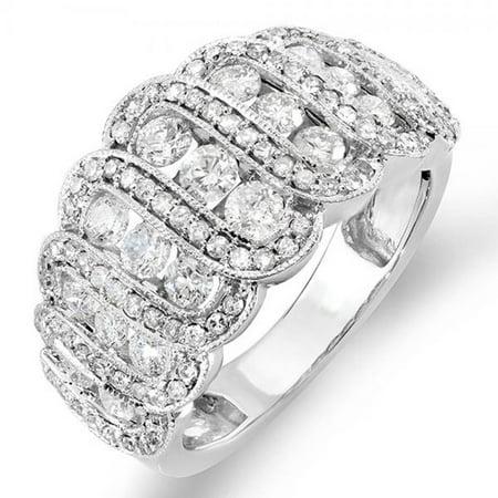 Dazzlingrock Collection 1.75 Carat (ctw) 14K Round Diamond Ladies Designer Cocktail Right Hand Ring 1 3/4 CT, White Gold, Size 8 Ctw Diamond Right Hand Ring