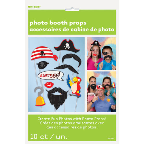 Pirate Photo Booth Props, 10 Piece