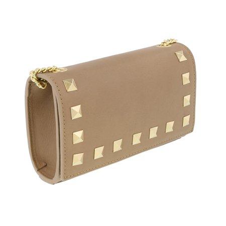 Scheilan  Camel Leather Studded Mini Crossbody/Shoulder Bag Studded Leather Mini