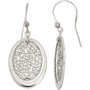 Crystal Accent Rhodium-Plated Sterling Silver Matte-Finished Oval Star Pattern Polished Frame Drop Earrings