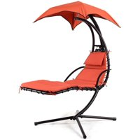 GHP 330-Lbs Capacity Orange Polyester Fabric Steel Frame Hanging Chaise Lounger Chair