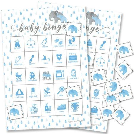 Blue Elephant Baby Shower Bingo Game Set - 24 Bingo Cards with Chips