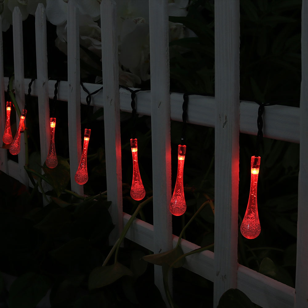 Sunnydaze 20-Foot Outdoor Hanging Solar String Lights LED 30-Count, Water Drop Patio Lights, Warm White