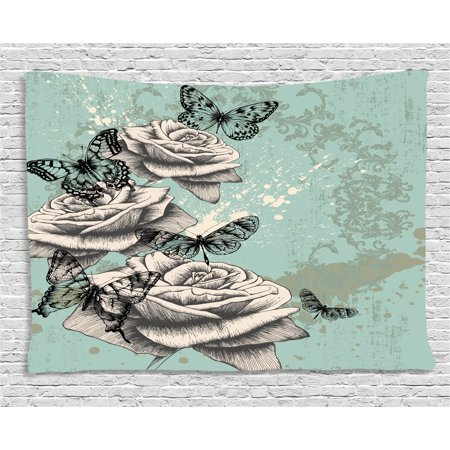 Rose Tapestry, Grunge Composition with Hand Drawing Style Roses Butterflies Vintage Artistic, Wall Hanging for Bedroom Living Room Dorm Decor, 80W X 60L Inches, Seafoam Grey Black, by Ambesonne