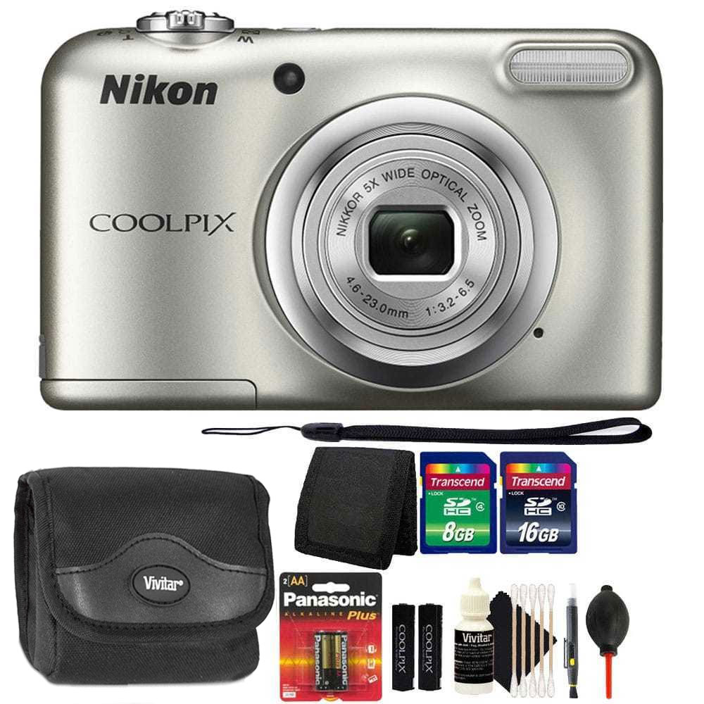 Nikon COOLPIX A10 16.1MP Digital Camera(Silver) + Extra Batteries & Accessories