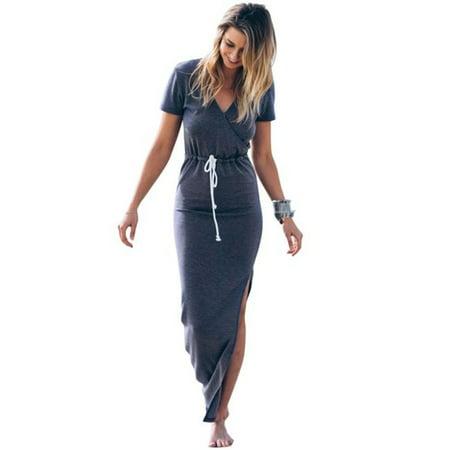 Women dress Personality Slim Waist Line Pencil maxi Dress short sleeve tie waist pencil long dress casual -