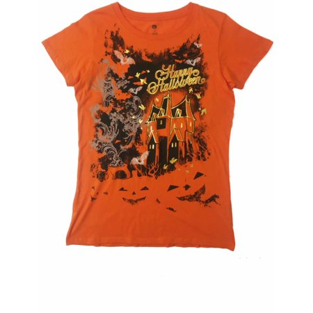 87077685 Womens Orange Jack 'O Lantern Happy Halloween Tee Haunted House T-Shirt -  Walmart.com