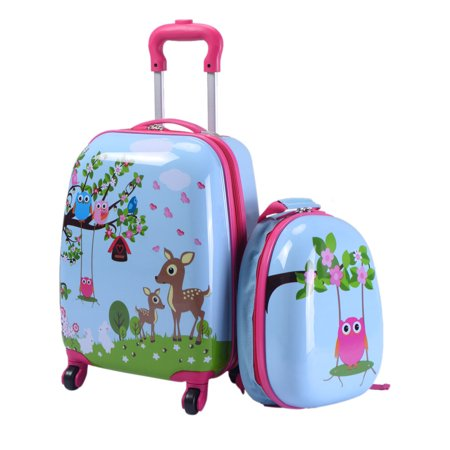 Costway 2Pc 12'' 16'' Kids Luggage Set Suitcase Backpack School ...