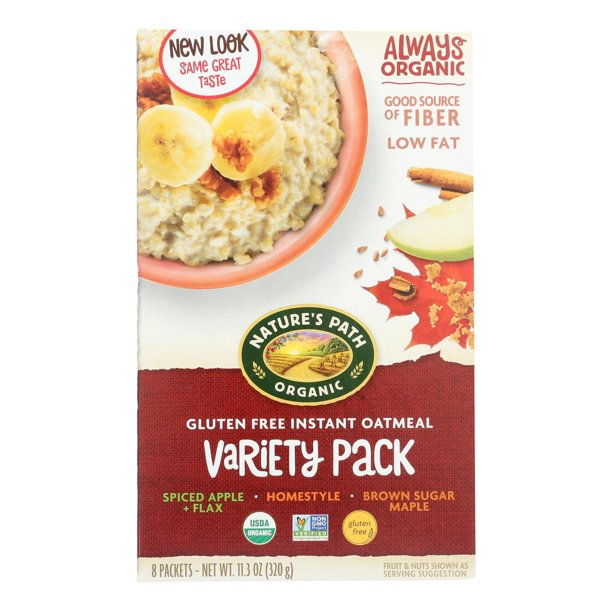 Nature's Path, Instant Oatmeal, Gluten Free, Variety Pack, Organic, 8 Packets, (Spiced Apple, Brown Sugar Maple, Homestyle)