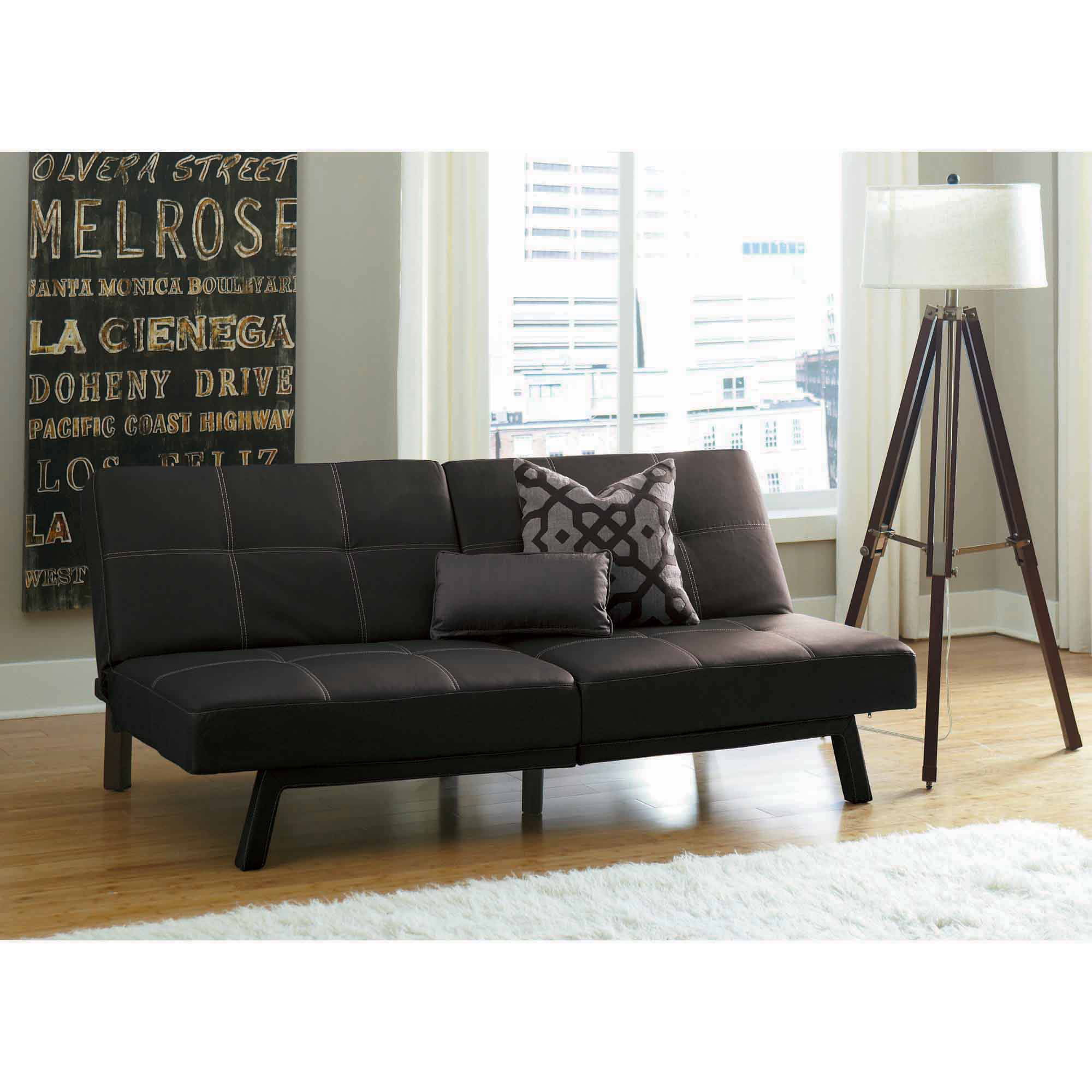 dhp delaney splitback futon sofa bed, multiple colors - walmart