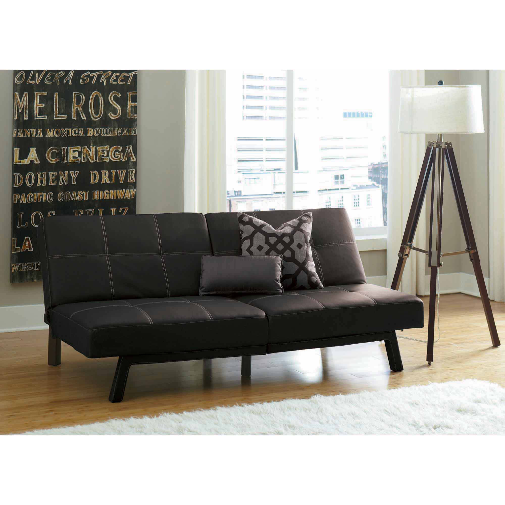 Delaney Split-Back Futon Sofa Bed, Multiple Colors