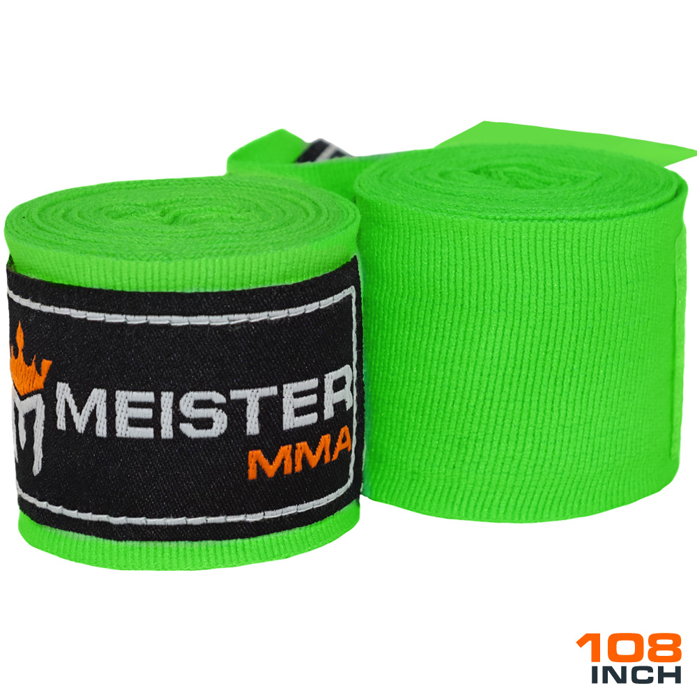 "Meister Junior 108"" Semi-Elastic MMA Hand Wraps (Pair) - Neon Green"