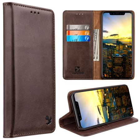 Luxmo Gentleman Flip Leather Wallet Fabric Case with Stand For Apple iPhone X XS / iPhone 10 2017 - - Fabric Case