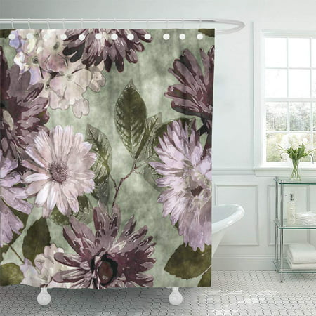 KSADK Watercolor Vintage Floral with Purple Lilac Pink and White Asters Phlox Bathroom Shower Curtain 60x72 inch ()