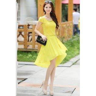 Unomatch Women Neck Decorated Bodycon Short Length Dress Yellow