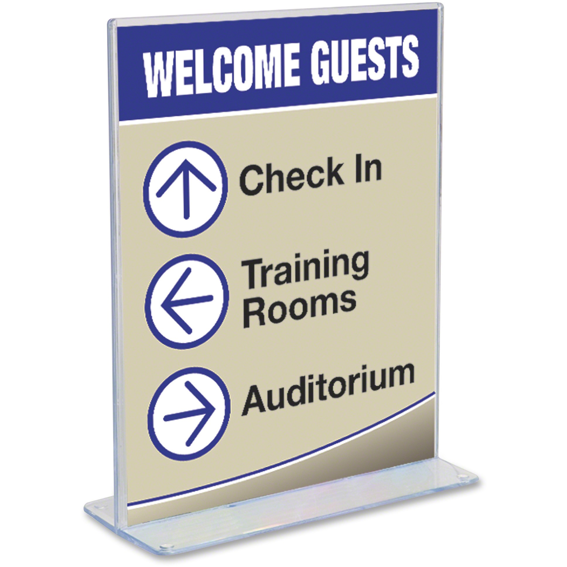deflecto Superior Image Stand-Up Double-Sided Sign Holder, Plastic,8 1/2x11 Insert, Clear