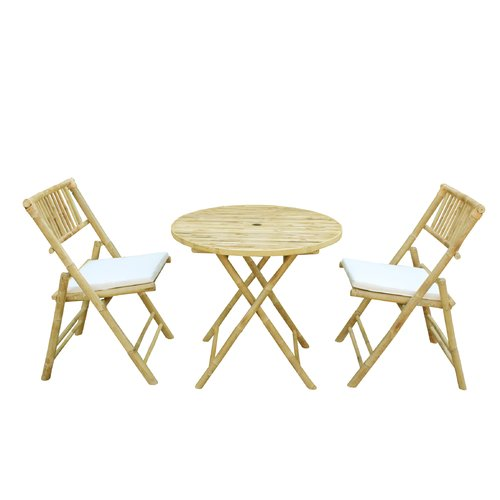 Bay Isle Home Woodcroft Bamboo 3 Piece Bistro Set with Cushions by