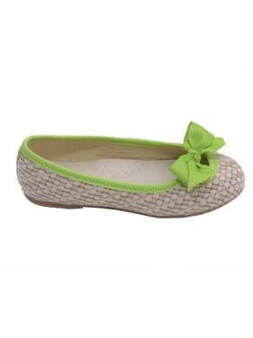Toddler Girls Lime Faux Straw Bow Fashion Flats 7-10 Toddler
