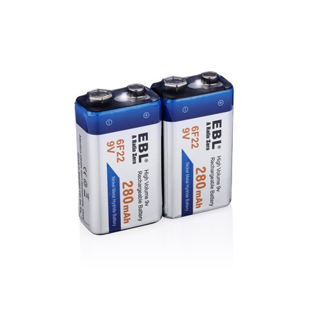 EBL 2-Pack 6F22 280mAh 9V Ni-MH Rechargeable Batteries for Toys Camera