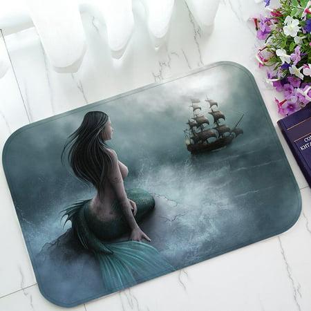 GCKG Mermaid and the Sailing Ship Non-Slip Doormat Indoor/Outdoor/Bathroom Doormat 23.6 x 15.7 Inches ()