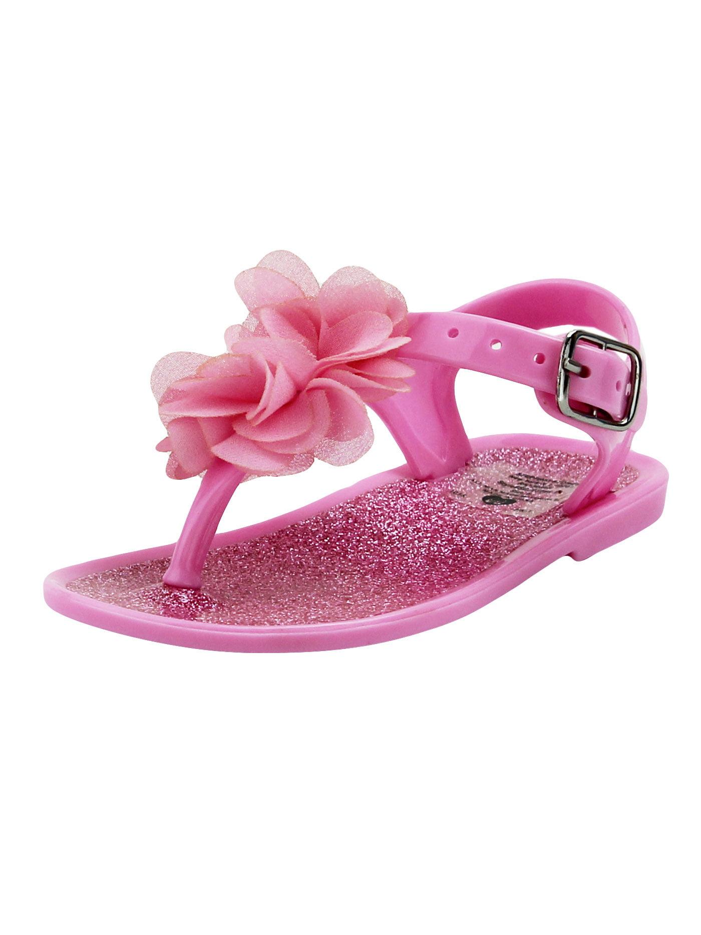 Stepping Stones Baby Girls Light Pink Glitter Flower Thong Sandal ...