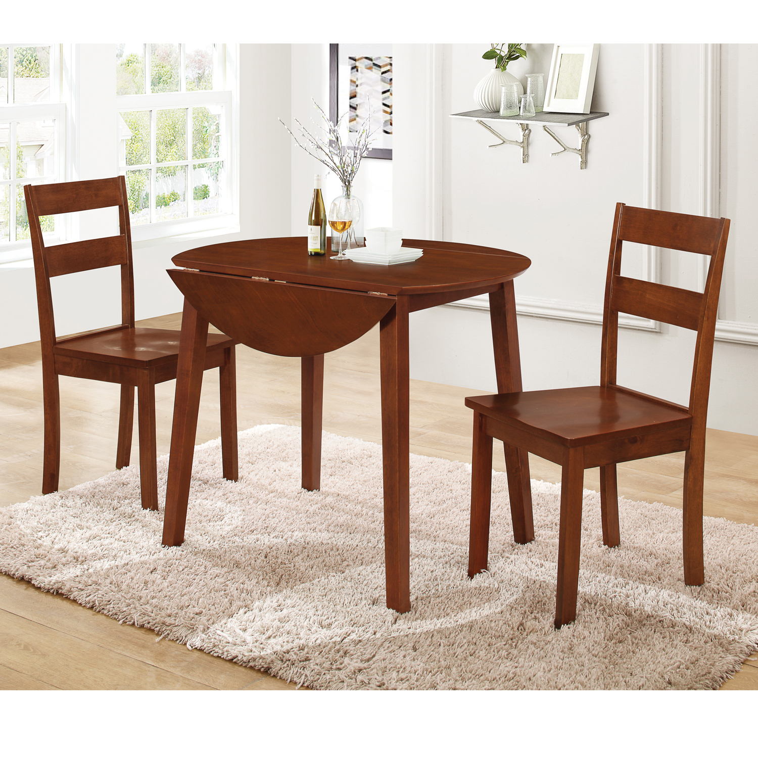 Home Source Country Style 3 Piece Drop Leaf Dining Set