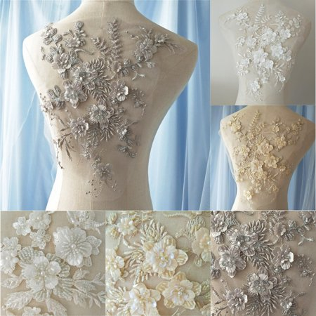 3D Flower Pearl Beaded Embroidery Lace Applique Patch for Ivory Wedding Dress Fabric - Pearl River Patch Halloween