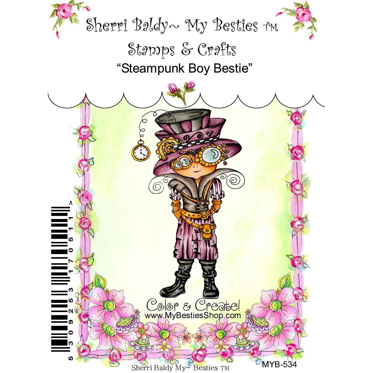 "NEW! My Besties Clear Stamps 4""X6""-Steampunk Boy Bestie"