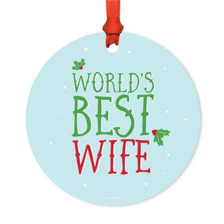 Metal Christmas Ornament, World's Best Wife, Holiday Mistletoe, Includes Ribbon and Gift