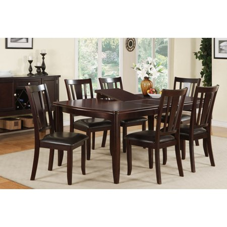 Dining Collection Modern Beautiful Kitchen Room Furniture Dining Table w Butterfly leaf & Upholstered 6 Side Chairs Dark Rosy Brown Wood Finish 7pc (Butterfly Leaf Dining Room Table)
