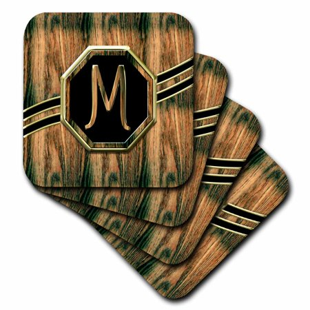3dRose Elegant Faux Gold and Wood Grain Monogram Letter M - Soft Coasters, set of 8