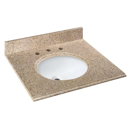 Cahaba 25 in. x 22 in. Beige Granite Vanity Top with oval bowl and 8 in. faucet spread