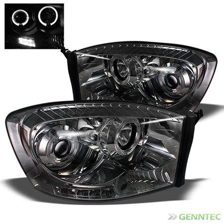 - Smoked 2006-2008 Dodge Ram Twin Halo LED Projector Headlights Smoke Head Lights Lamp Pair Left+Right 2007