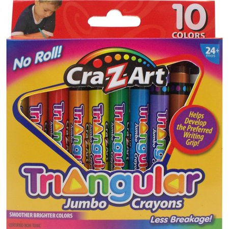 Cra-Z-Art Triangular Jumbo Crayons, 10 ct