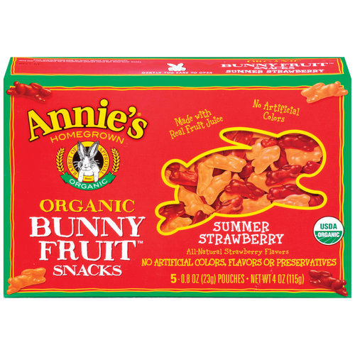 Annie's Homegrown Organic Bunny Summer Strawberry Fruit Snacks, 5ct