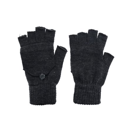 Womens Mens Winter Knitted Convertible Fingerless Winter Gloves Mitten Cover ()
