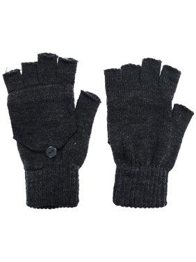 Womens Mens Winter Knitted Convertible Fingerless Winter Gloves Mitten Cover