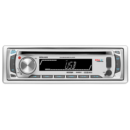 Click here to buy Boss Audio MR648S 1-DIN Marine CD MP3 Receiver, Silver by Boss Audio.