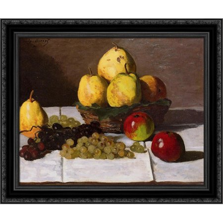 Still Life with Pears and Grapes 24x20 Black Ornate Wood Framed Canvas Art by Monet, Claude