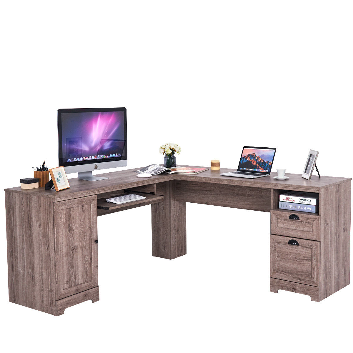 Costway L-Shaped Corner Computer Desk Writing Table Study Workstation w/  Drawers Storage - Walmart.com