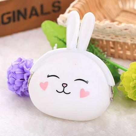 Fashion Cute Cartoon Rabbit Design Coin Purse Zipper Silicone Wallet Small Key Card Bag - image 6 of 7