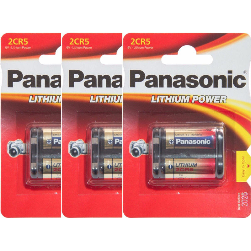 3 x Panasonic 2CR5 6V Lithium Photo Battery, DL45, KL2CR5, 5032LC Retail Pack