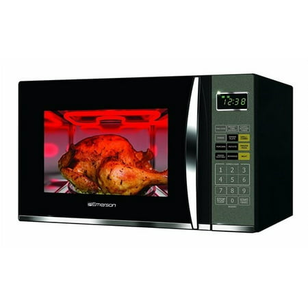 Emerson 1.2 Cu. Ft. 1100W Black Microwave with (Emerson Stainless Steel Microwave 1-3 Cu Ft)