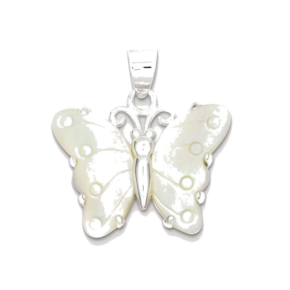 Goldia Sterling Silver White Shell Butterfly Pendant