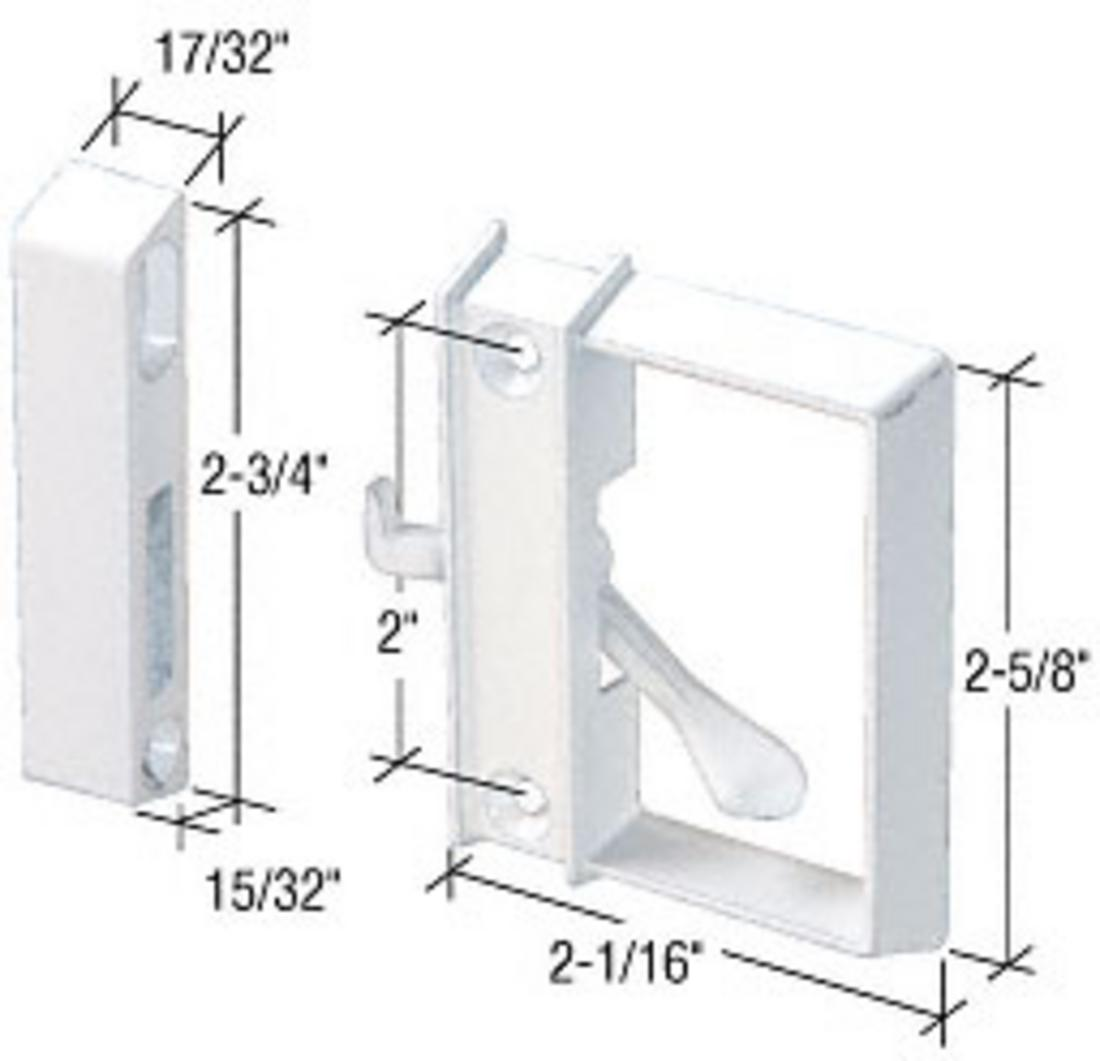 """CRL White Sliding Screen Door Latch and Pull with 2"""" Screw Holes"""