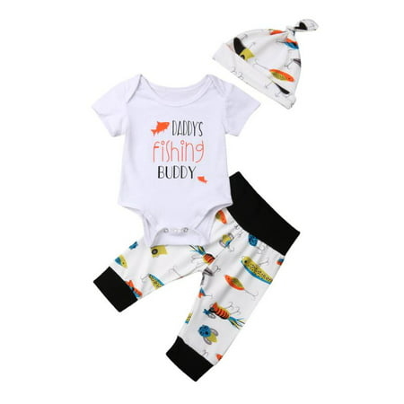 58d0804e6 Newborn Infant Baby Girls Boys Daddy's Fishing Buddy Romper Bodysuit Fish Pants  Hat 3Pcs Summer Outfit - Walmart.com