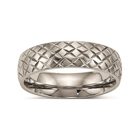 Designer Titanium Polished Textured Ring (Width=6.00) Made In China -Jewelry By Sweet Pea Creations