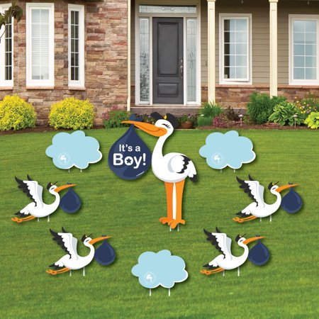 Boy Special Delivery - Baby Announcement Yard Sign & Outdoor Lawn Decorations - Blue Stork Baby Shower Yard Signs - 8 Ct