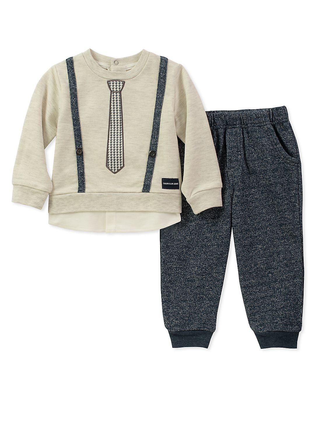 Baby Boy's Two-Piece Formal-Trim Sweater & Pants Set