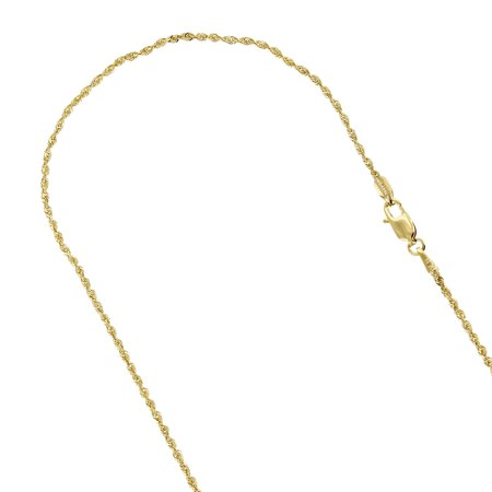 10K Yellow Gold 1.5mm Wide Sparkle Rope Hollow Chain Necklace with Lobster Clasp (20 long) 10k Gold Rope Chain